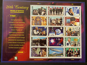 20TH CENTURY SHEET 15 stamps 1920-29, MARSHALL ISLANDS 1998 Postage $0.60 MNH