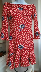 Womens TOPSHOP red Floral Summer Dress Size 8 Immaculate Used Once