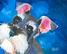 Miniature Schnauzer Art Print Signed by Artist Ron Krajewski Painting 8x10 Dog