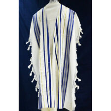 WOOL TALLIT WITH GOLD & BLUE STRIPES -Made in Israel Jewish Prayer Shawl SIZE 36