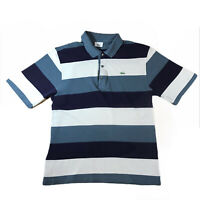 Mens Lacoste Polo Shirt Blue And White Striped | Size 4 M Meduim