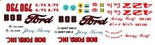 Jerry Harvey BOB Ford Thunderbolt 1964 DRAG 1/32nd Scale Slot Car Decals