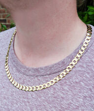 """Men's Heavy Solid 9ct Yellow Gold 8.2mm Diamond Cut Curb Chain Necklace 20″-28"""""""