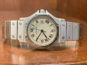 Cartier Santos Octagon Automatic Large With Waranty Card
