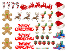 Christmas Scene Edible Stand Up Wafer Cake Wafers Cupcake Toppers Decorations