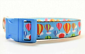 Hot Air Balloon and Clouds Blue Adjustable Dog Collar for Boy Girl Medium Large