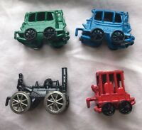 4 Pack Miniature Doll House Lot Miniatures Metal Train Car Set Made In Japan VTG