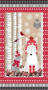 "24"" Fabric Panel - Studio E Christmas Snow Delightful Woodland Wallhanging Brown"