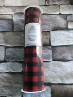 Faux Leather Wide Ribbon Red/Black Buffalo Plaid Check