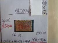 RHODESIA STAMP S.G. 149 10d SCARLET REDDISH PURPLE F.U.