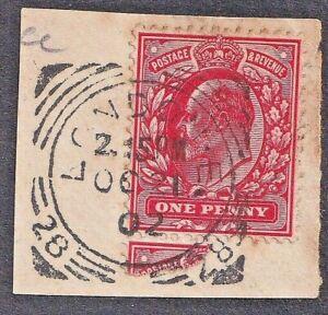 1902 London E. SG ID (28) Squared Cancel On KEdVII Piece