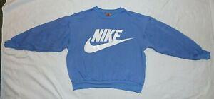 Vintage 90s Nike Crewneck Sweatshirt Big Logo Spellout Medium Blue