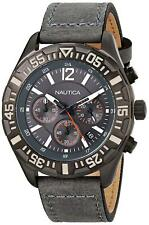 Nautica Men's NST 402 Sport Chronograph Gray Leather Watch - N18720G