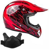 Snowmobile Helmet Snocross Red Splatter w/ Breathbox DOT Adult Snow Open Face