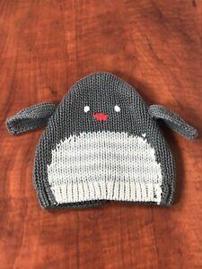 Baby Gap Knit Hat 0-3 Months Gray Cute Penguin Design