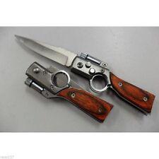 Petit Couteau de Poche Forme Fusil AK47 Lame Acier 7 cm Manche Bois 8,5 cm