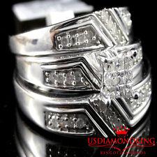 Genuine Real Diamond Trio Set Engagement Ring Wedding Band Prince Cut .33CT New