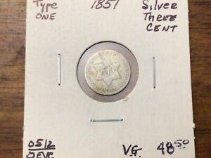 1851 U.S. THREE / 3 - CENT SILVER PIECE ~ FINE CONDITION