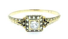 A Egyptian / Renaissance Revival Enamel & Diamond Ring Circa 1860's