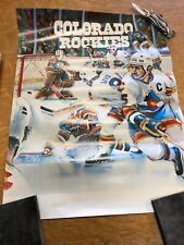 VERY RARE COLORADO ROCKIES Vs OILERS  HOCKEY VINTAGE SPORTS Poster
