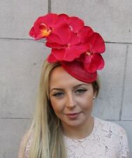 Red Sinamay Orchid Flower Fascinator Pillbox Hat Cocktail Races Hair Clip  5164 fa2ac4405504