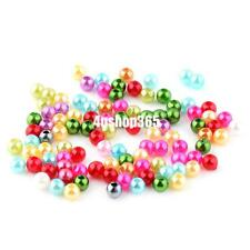 100 Pcs 4mm Artificial Pearl Round Loose Beads Women Accessories Mixed Color