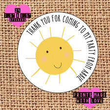 Party bag stickers personalised x24 sunshine sun thank you sweet cone labels