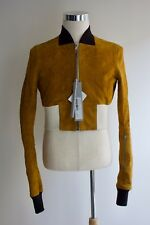 NEW $4,500 RICK OWENS Ribwaist Horse Leather Bomber Med 40US 50IT Cropped Jacket