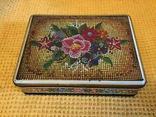 More details for beautiful vintage cadbury chocolate enamel mosaic floral biscuit tin