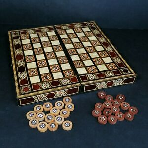 Vintage Mother Of Pearl Backgammon Folding Game Chess Board PLEASE READ
