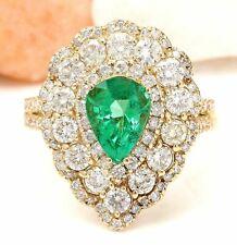 3.90 Carat Natural Emerald 14K Solid Yellow Gold Diamond Ring