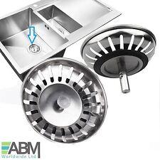 2x Stainless Steel Replacement Kitchen Sink Drain Strainer Drainer Waste Plug UK