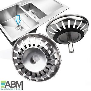 2x Stainless Steel Replacement Kitchen Sink Drain Strainer Drainer Waste Plug UK