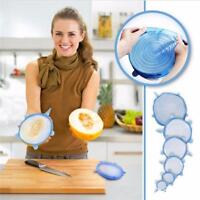 Magic Silicone Stretch Lid 6 PCS Reusable Wrap Covers Microwave Oven Compatible