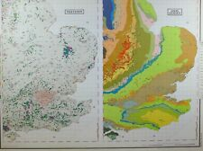 VINTAGE LARGE MAP of BRITAIN SOUTH EAST ENGLAND VEGETATION SOLID GEOLOGY