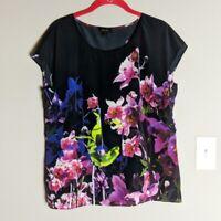 Escada Black & Purple Floral Print 100% Silk Short Cap Sleeve Top Size 40