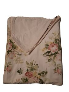 LAURA ASHLEY PINK & GREEN FLORAL STRIPE (1) TWIN DUVET COMFORTER COVER 63 X 84