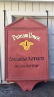 Vintage PUTNAM HAUSE AMERICAN ANTIQUE STORE Double Sided Folk Art Wooden Sign