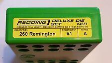 84531 REDDING 3-DIE FULL LENGTH / NECK 260 REMINGTON DELUXE DIE SET - NEW