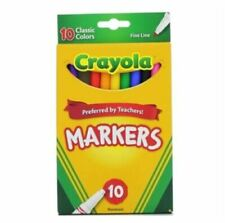Crayola Classic Fine Line Markers Assorted Colors Blue Green Red 10 per pack AAR
