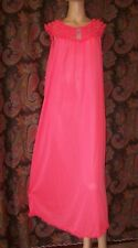 Vintage Neon Pink Nylon Tricot Ruffled Chiffon Smock Nighty Gown Nightgown M