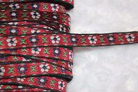 "2 yards $1 Brick Red Navy Green Daisy jacquard woven sewing ribbon Trim 3/8"""