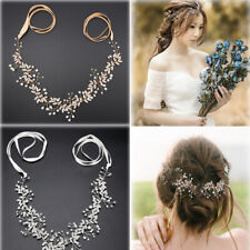 Long Wedding Hair Vine Crystal Pearl Headband Bridal Accessories Gold Silver US