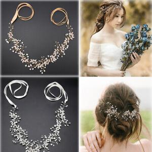 Long Wedding Hair Vine Crystal Pearl Headband Bridal Accessories Gold Silver US