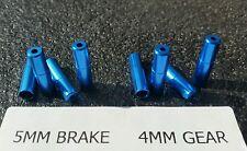 8 X Blu Alluminio Alloggiamento Esterno Ingranaggio Freno Filo Cavo estremità (4x5mm) + (4x4mm)
