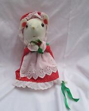 "Vintage Jerry Elsner Christmas Mouse plush red polka dot dress hat 10""  taiwan"