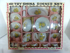 23 PC Vintage Jaymar Toy China Dinner Set Yellow Roses Play Tea Time No. J 7037