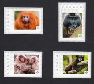 MONKEY = Set of 4 Picture Postage Stamps MNH Canada 2015 [p15-04mk4]