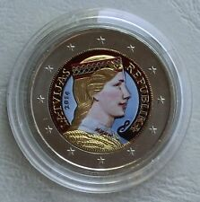 2 Euro Kursmünze Lettland 2014 in Farbe II. unz