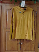 NEW MENS ST JOHNS BAY  YELLOW SUEDED HENLEY LONG SLEEVE SHIRT SIZE SMALL